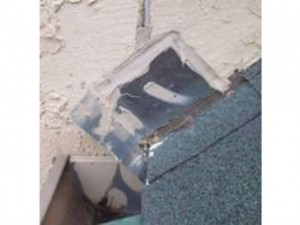 kickout flashing illustration - stucco home inspection rept
